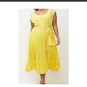 Lane Bryant Yellow Pleated Dress